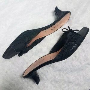 Prada Black Satin Slip On Sandals Pumps Shoes
